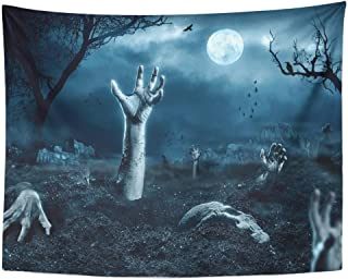 Tarolo Decor Wall Tapestry Halloween Zombie Hand Coming Out of His Grave Cemetery Ghost Horror 60 x 50 Inches Wall Hanging Picnic for Bedroom Living Room Dorm