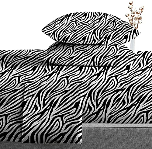 Diamond Bedding Bed Sheet Set 4 Piece - Fit Mattress Up to 18' Inch Deep Pocket 600 Thread Count 100% Egyptian Pure Cotton Sheets - Zebra Print Twin XL ( 39 X 80 ) inch