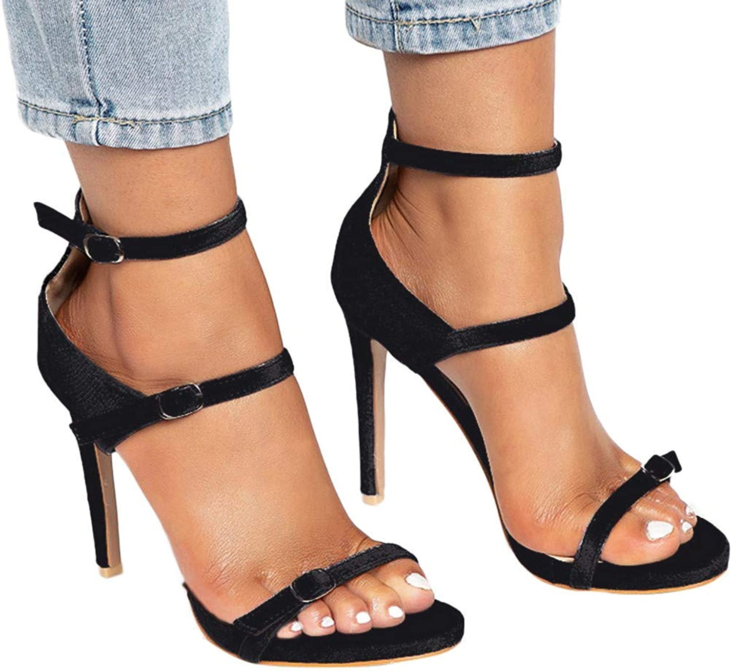 Women Strappy Sandals with Three Straps Evening Dress High Heels Classic Open Toe Stiletto shoes