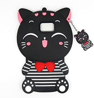 Samsung Galaxy S5 Case, Maoerdo Cute 3D Cartoon Black Stripes Plutus Cat Lucky Fortune Cat Kitty with Bow Tie Silicone Rubber Phone Case Cover for Samsung Galaxy S5