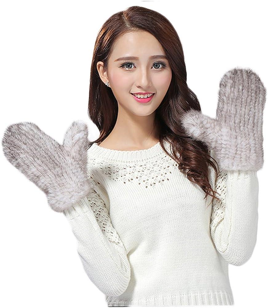 Mandy's Women's Winter Warm Genuine Mink Fur Gloves (one size, 8 colors)
