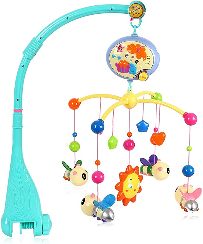Littlegrass Baby Musical Crib Mobile With Hanging Rotating Toys And Music Box For Babies Boy Girl Toddler Sleep Blue