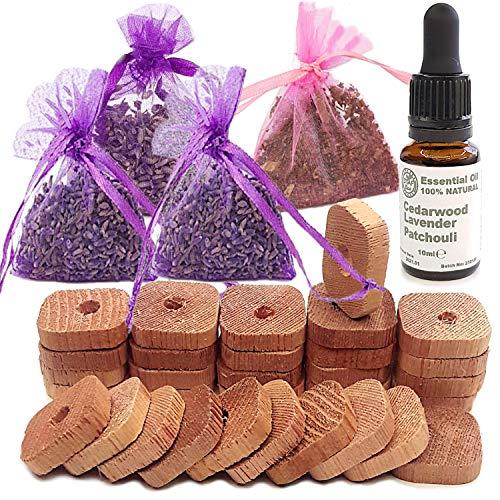STAFECO Repelente de polillas para armarios antipolillas, anillos de madera de cedro, bolsas de lavanda y pachulí, aceite premium 100% natural (mediano L)