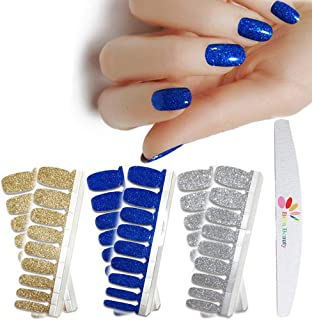 BornBeauty 3pcs Glitter Nail Wraps Polish Decal Strips with Nail File Adhesive Golden Silver Nail Art Stickers Manicure Kits for Women Girls (1)