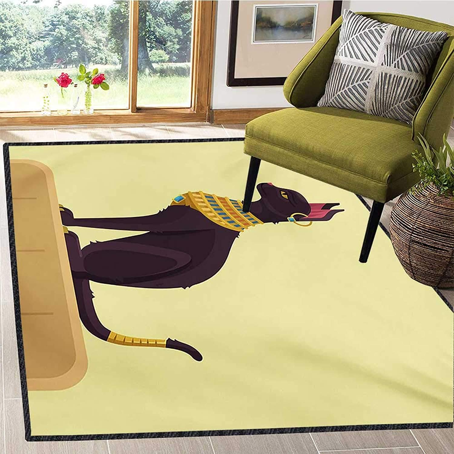 Egypt, Door Mats Area Rug, Antique Ancient Times Mystical Cartoon Style Cat with Earring Image, Door Mats for Inside 5x6 Ft Pale Yellow Mustard Plum