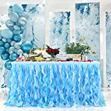 Blue Curly Willows Tutu Table Skirt Ruffle Tablecloth for Baby Shower Unicorn Party Decorations (Blue, L 6(ft) H 30in)