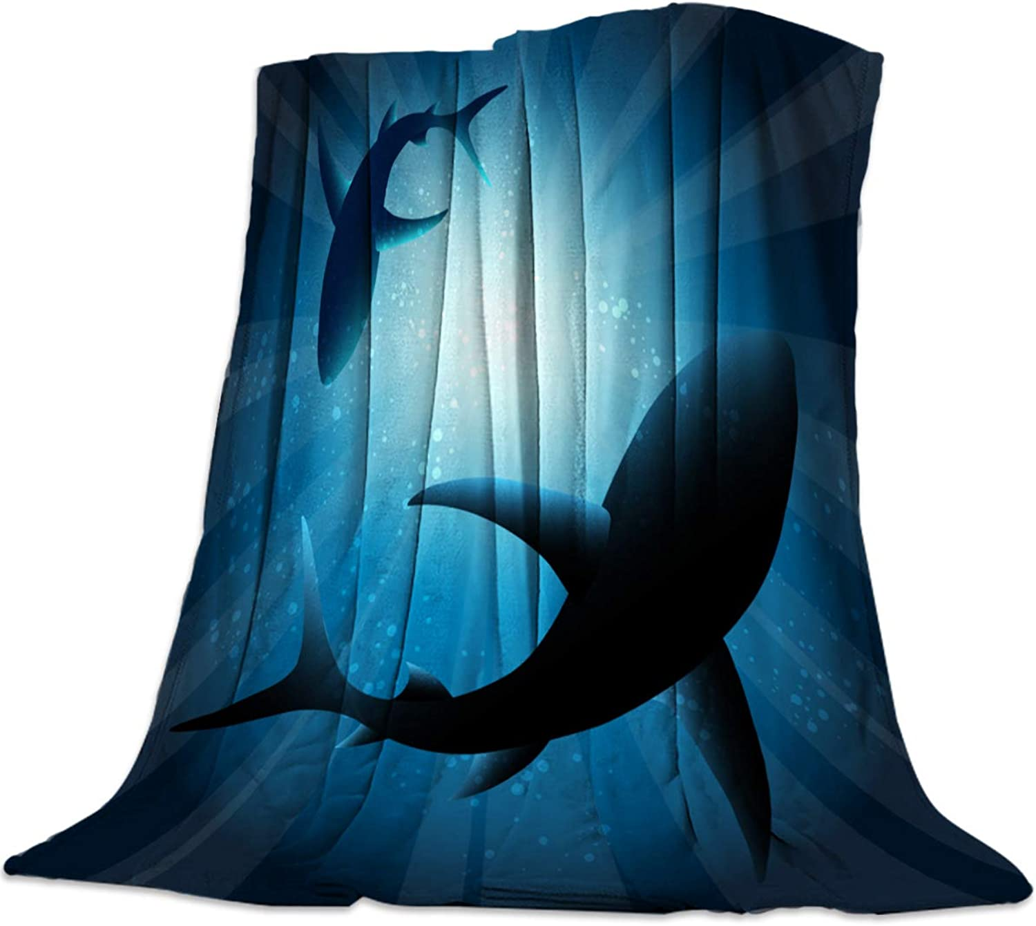 YEHO Art Gallery 39x49 Inch Flannel Fleece Bed Blanket Soft Throw-Blankets for Girls Boys,bluee Shade of Sharks Pattern,Cozy Lightweight Blankets for Bedroom Living Room Sofa Couch