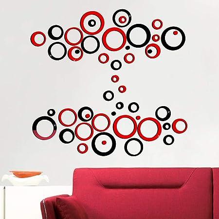 48pcs Pegatinas Pared Espejo Redondo Vinilos Adhesivos de Acrílico Decorativas DIY Decorar Hogar Habitación Dormitorio Baño (rojo&negro)