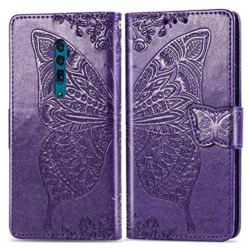 Handy-Zubehör Für Oppo Reno 10x Zoom Tasche, Butterfly Embossment Leder Schutzhülle mit Kartenfächern & Halter & Magnetverschluss Hüllen & Cases (Color : Deep Purple)