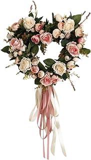 Greatlizard Hochzeitskranz Herzstück Künstliche Rose Blumen Kranz Runde Herzform Blumenschleife Schöne Künstliche Hochzeitsrose Für Hochzeitsfeier Home Tür Dekor