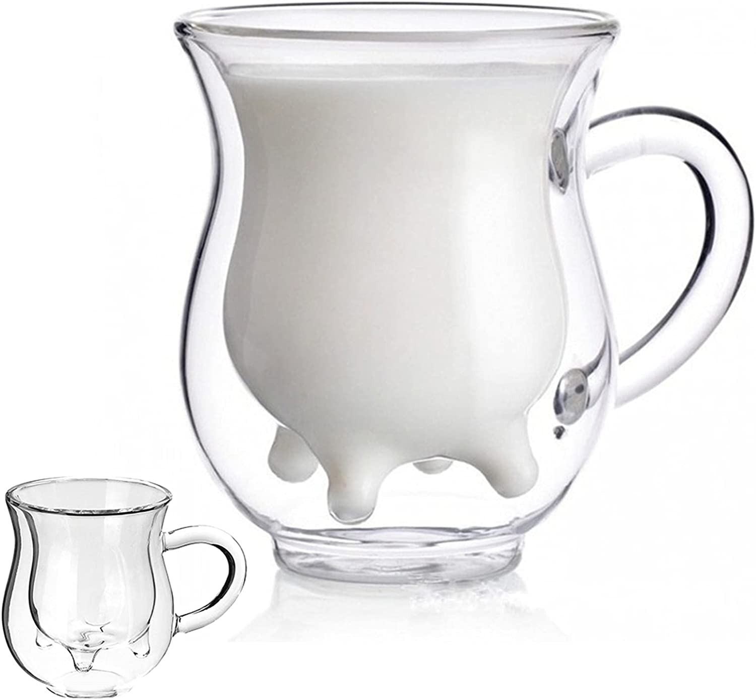 Double Milk Cup Max 66% OFF Creative Glass Calf Insulated Mugs Special Campaign Cute T