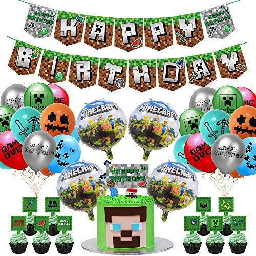 Zubehör für Geburtstagsfeiern mit Spielmotiven, Partydekorationen mit Spielmotiven im 42-Pixel-Stil, Banner zum Geburtstag, Kuchen-Zylinder, Pixel-Spielballons, Bänder für Partys von Bergmannspielern