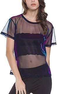 Women's Sexy Long and Short Sleeve Mock Neck Crop Tops See Through T-Shirt Turtleneck Sheer Mesh Tops