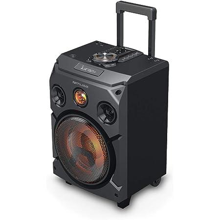 Muse M 1915 Dj Trolley Party Bluetooth Lautsprecher Mit Gelben Led Display Teleskopziehgriff Und Holzfunier Gehäuse Audio Hifi