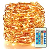 Moobibear LED Decorative Fairy String Lights 66ft 200 LEDs Dimmable Outdoor/Indoor Starry String Lights, Warm White Copper Lights with Remote Control for Garden Room Patio Party Valentines Day Decor