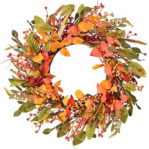 YQing 45cm Künstlich Beere Herbstkranz, Rote Beeren Herbstlaub Haustür Kranz Gelb Blätter Deko Beere Kranz für Thanksgiving Dekoration Indoor Saison Herbst Haus Dekoration