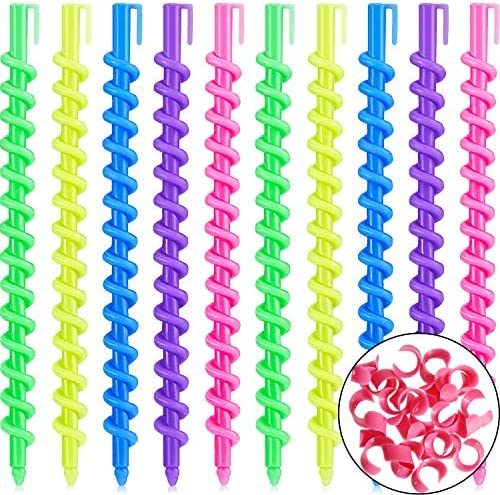 100 Pieces Spiral Hair Perm Rod Spiral Rod Plastic Long Barber Hairdressing Styling Curling product image