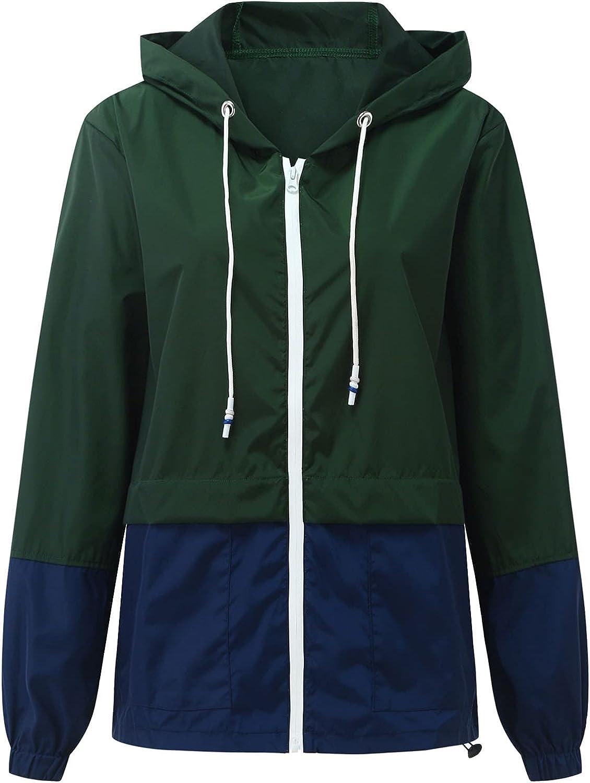 Womens Rain Jackets Waterproof With Hood Overcoat Solid Splice Long Sleeve Pocket Loose Raincoats Windbreaker Outwear