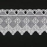 Häkelgardine Bistrogardine Scheibengardine Stickerei Spitzenborte weiß Verzierung Vierecke Meterware B:16cm