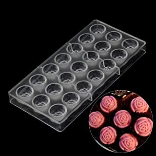 Grainrain Clear Hard Plastic Rose Shaped Polycarbonate PC Chocolate Molds DIY Jelly Mould 21Cavities