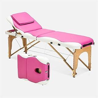 HIZLJJ مقعد قابل للطي وخفيف الوزن قابل للطي لسرير صالون التجميل 3 أقسام مع مسند للرأس