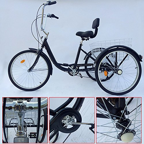 SENDERPICK 24' 6 Speed Adult 3 Wheel Tricycle, Adult Bicycle Cycling Pedal...