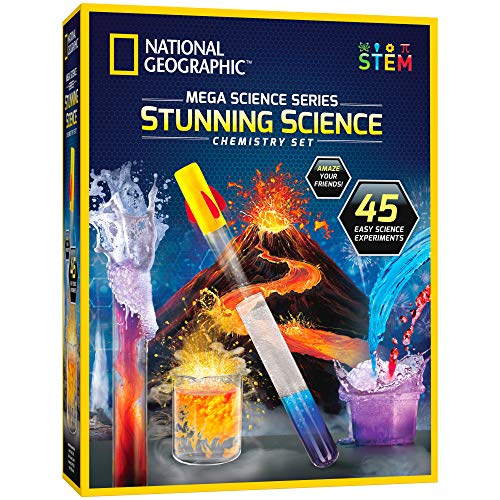 NATIONAL GEOGRAPHIC Stunning Chemistry Set - Mega Science Kit with Over 15 Easy Experiments, Make a Volcano, Launch a Rocket, Create Fizzy Reactions, & More, STEM Toy, an Amazon Exclusive Science Kit