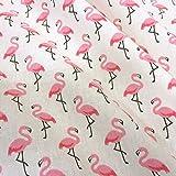 Stoff Baumwollstoff Meterware Flamingo rosa weiß pink