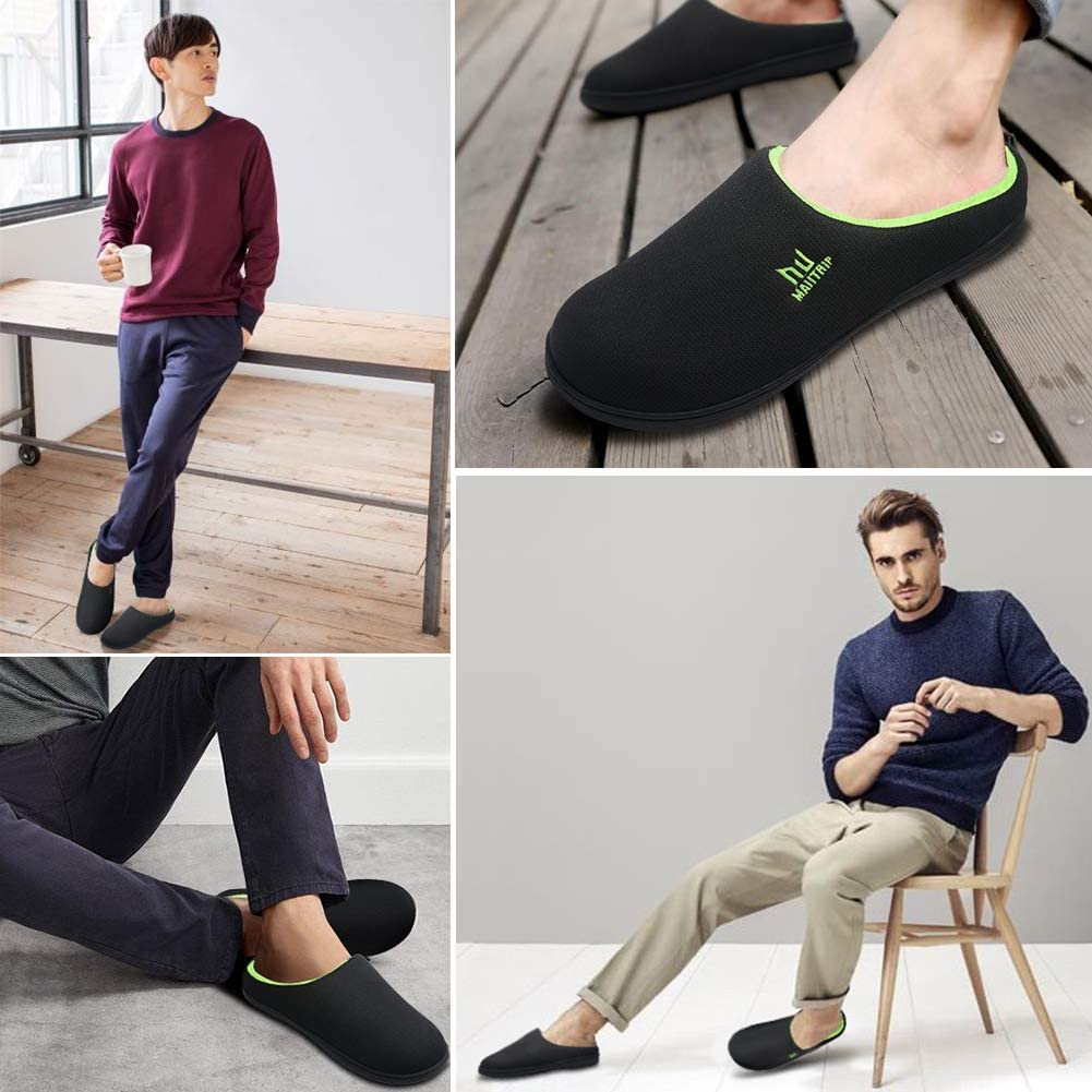 MAIITRIP Mens Cozy Memory Foam House Slippers Non Slip Size:7-15