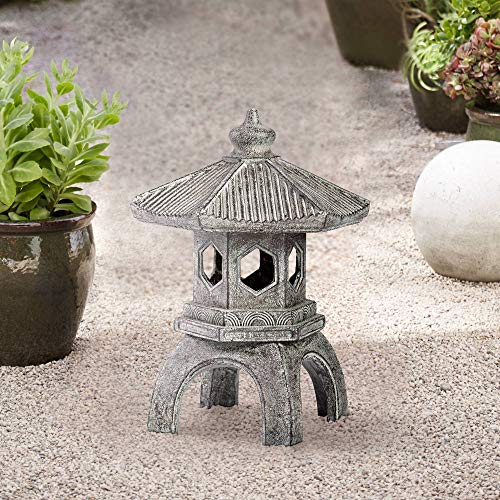 "Universal Lighting and Decor Asian Pagoda Indoor Outdoor Statue 16 1/2"" High Sculpture for Table Desk Yard Garden Patio Deck Home - John Timberland"