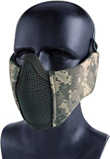 Aoutacc Airsoft Mesh Mask, Half Face Mesh Masks with Ear Protection for CS/Hunting/Paintball/Shooting