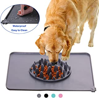 Beita Silicone Dog Food Mat Slow Eating Pet Feeding Mat Placemat for Food and Water,Waterproof Non-Slip Foldable Feeder Mat