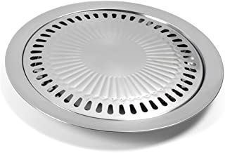 LVOERTUIG BBQ Grill Tray Pan Stainless Steel Cooking Smokeless Korean Style Non-Stick Griddle Plate for Outdoor Home Kitchen Roasting Camping Grilling