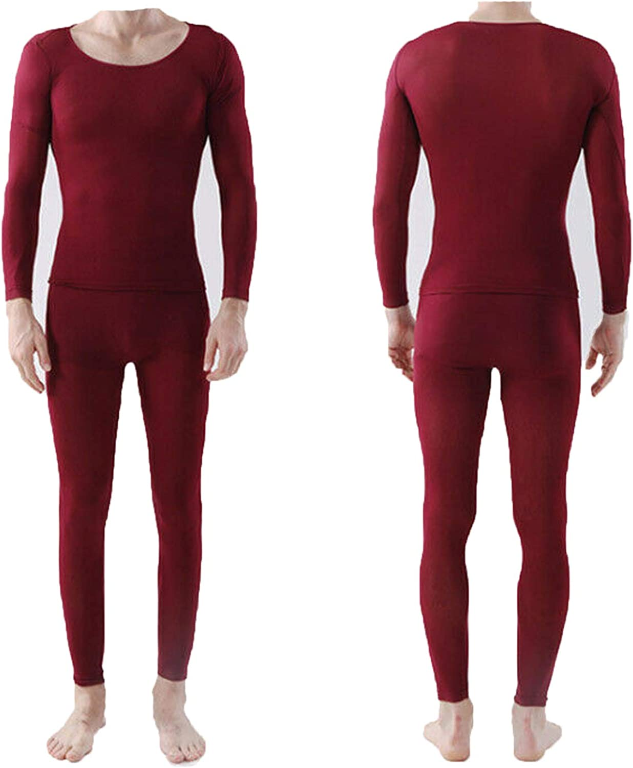 hengyuany 37 Degree Constant Temperature self-Heating Couple Thermal Underwear Cover Slim fit Thin ThermalInnerwear (Men's red)