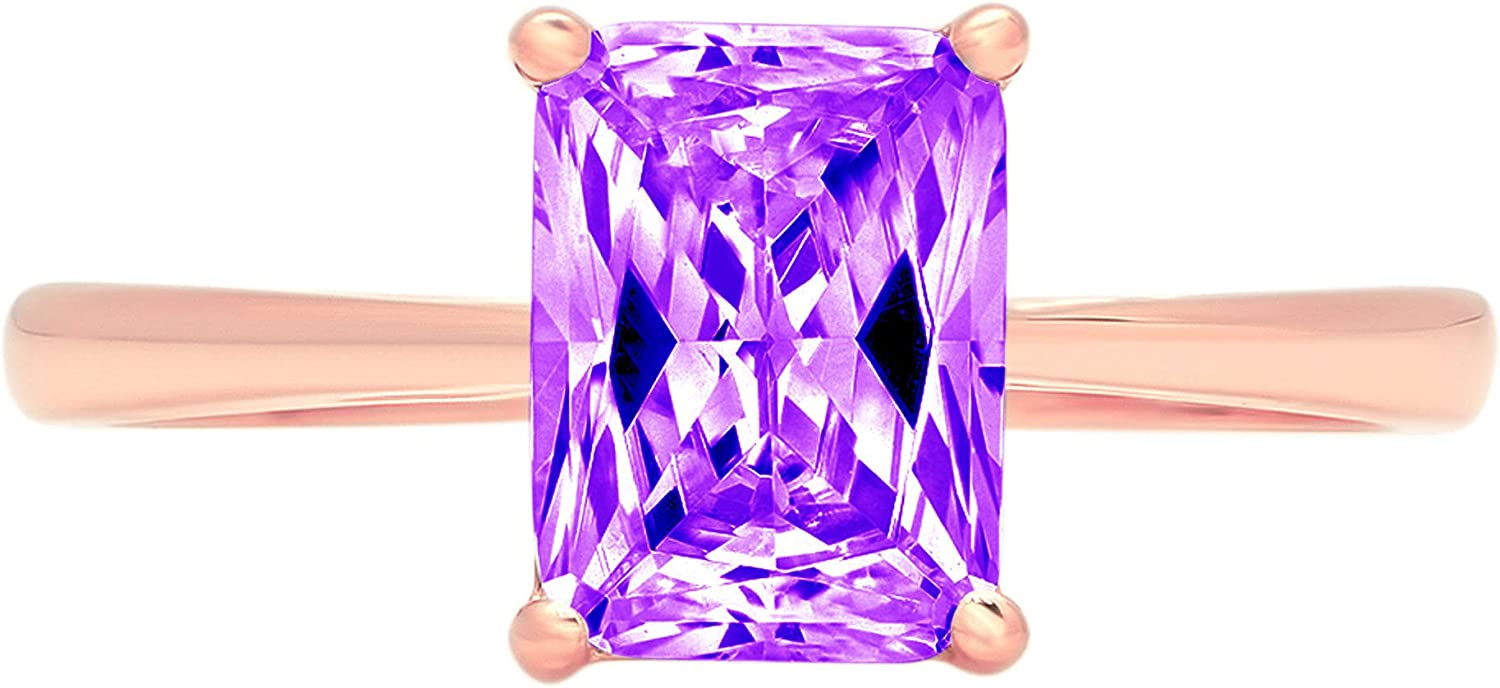 1.95ct Brilliant Emerald Cut Solitaire Natural Purple Amethyst Ideal VVS1 4-Prong Classic Designer Statement Ring Solid Real 14k Rose Gold for Women