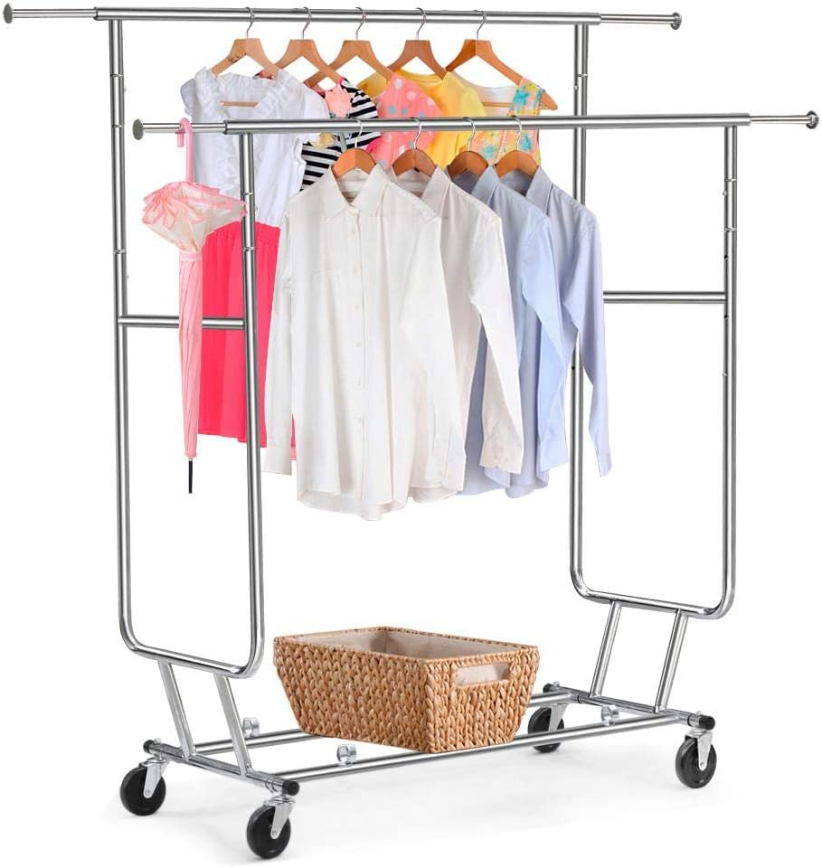 Yaheetech Double Rail Portable Clothing on Rack Garment Sale special price Max 88% OFF Wheels