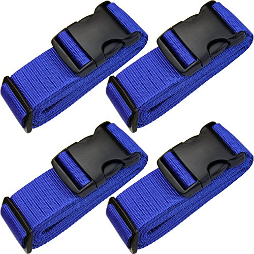 TRANVERS Travel Straps Luggage Straps Suitcases Baggage Strap Sturdy 4-Pack Blue