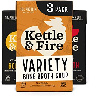 Bone Broth Variety Pack, Mushroom Chicken, Beef, and Chicken by Kettle and Fire, Keto Diet food, Paleo Friendly, Whole 30 ...