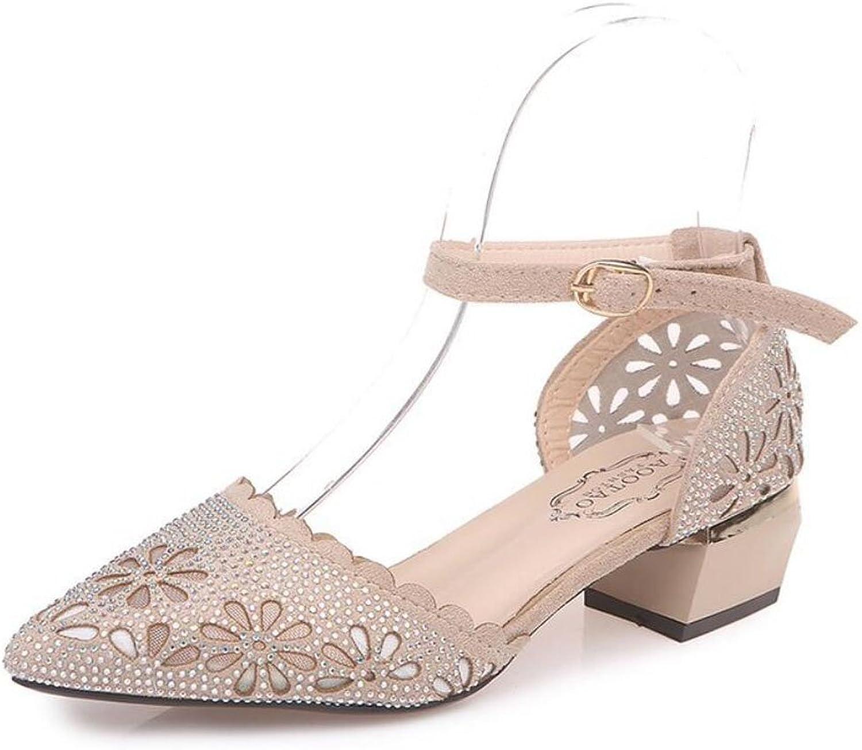 LZWSMGS Suede Women's High Heel Thick Heel shoes Hollow Rhinestone Sandals Comfortable shoes Black Beige 35-39cm Ladies Sandals (color   Beige, Size   5.5 US)