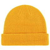 Connectyle Classic Men's Warm Winter Hats Acrylic Knit Cuff Beanie Cap Daily Beanie Hat (Gold)