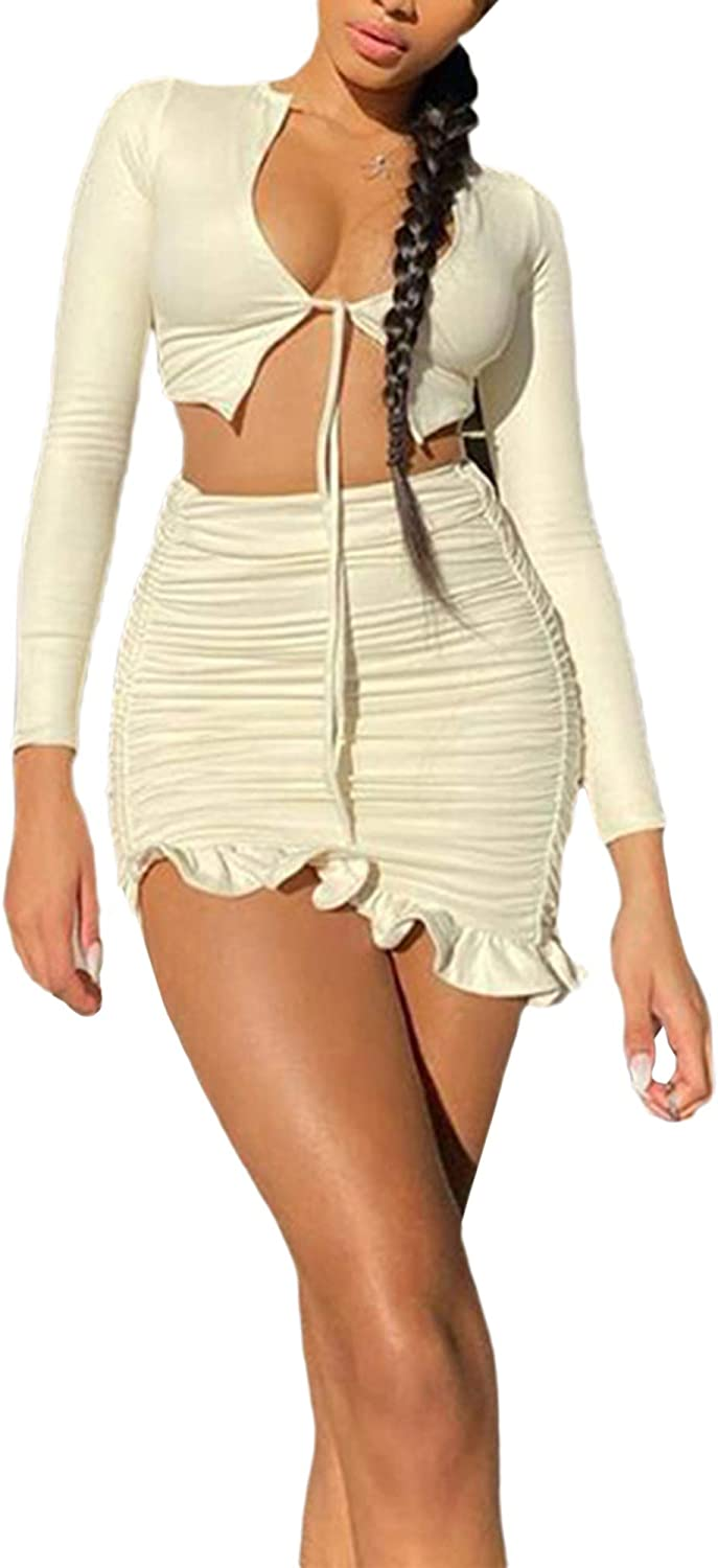 Women 's Long Sleeve Short Skirt Suit Fashion Solid Color Lace-Up Exposed Navel Top and Ruffle High-Waist Skirt