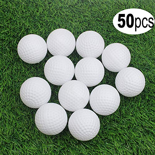KOFULL Golf Practice Ball, Hollow Golf Plastic Ball for Indoor Training -Pack of 50pcs (5 Colors Available)(White)
