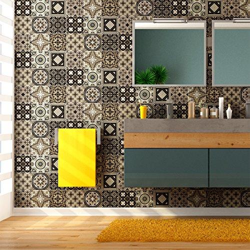 9 Stickers adhésifs carrelages | Sticker Autocollant Carreaux de Ciment - Mosaïque carrelage Mural Salle de Bain et Cuisine | Carreaux de Ciment adhésif Mural - azulejos - 10 x 10 cm - 9 pièces