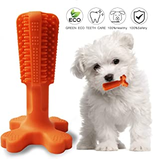 JOBNICE Dog Toothbrush Stick,Puppy Dental Care Brushing Stick Effective Doggy Teeth Cleaning Massager Natural Rubber Bite Resistant Chew Toys for Dogs