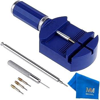 MMOBIEL Kit con strumenti di riparazione regolabili per orologiai con 3x pin aggiuntivi 1x pinza a molla 1x Punteruolo in acciaio inox