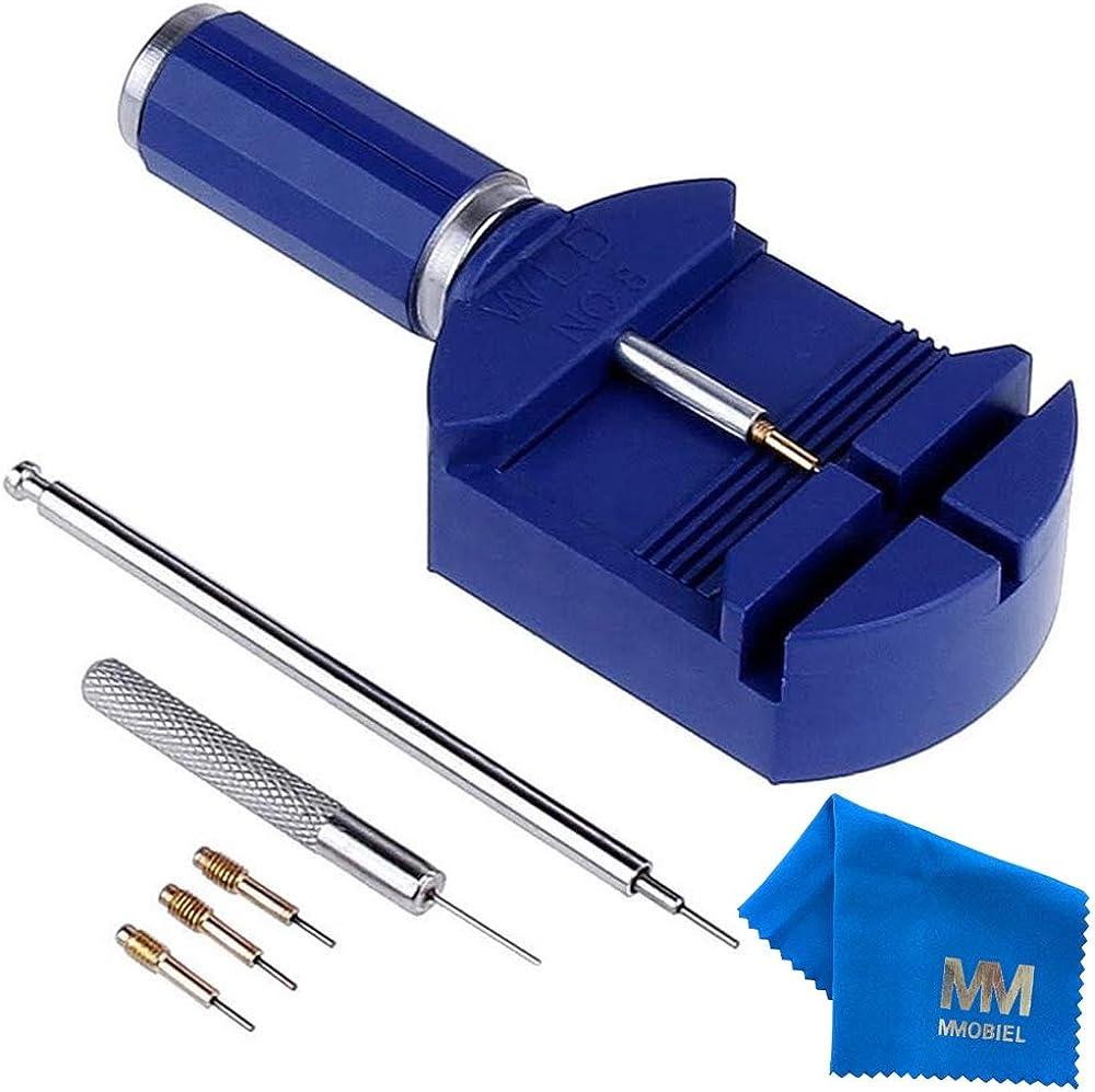 MMOBIEL Kit de Herramientas Ajustables para Remover Perno de Correa de Reloj con Empujadores y Punzón de Acero