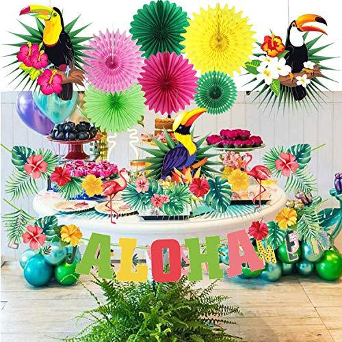 Sayala Summer Party Decoration Kit,Hawaiano Decorazione del Partito Tropicale Luau Palloncini Tropicali per La Decorazione di Festa (Flamingo)