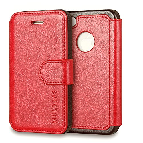 Mulbess Cover per iPhone 4s, Custodia Pelle con Magnetica per iPhone 4 / 4s [Layered Case], Vino Rosso