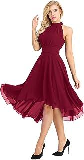 cafefc23826 iiniim Asymétrique Robe de Mariage Soirée Femme Mousseline Robe de Cérémonie  Partie sans Manches Robe de