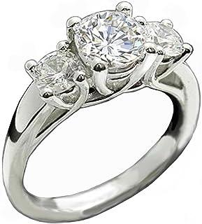 Venetia Supreme Realistic 3-Stones Hearts and Arrows Cut Simulated Diamond Ring Set 925 Silver Platinum Plated Past Present Future cubic zirconia cz r3rd7
